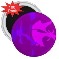 Purple, Pink And Magenta Amoeba Abstraction 3  Magnets (100 Pack) by Valentinaart