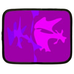 Purple, Pink And Magenta Amoeba Abstraction Netbook Case (xl)  by Valentinaart