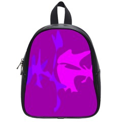 Purple, Pink And Magenta Amoeba Abstraction School Bags (small)  by Valentinaart