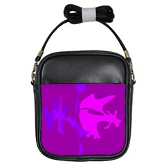 Purple, Pink And Magenta Amoeba Abstraction Girls Sling Bags by Valentinaart