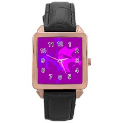 Purple, Pink And Magenta Amoeba Abstraction Rose Gold Leather Watch  by Valentinaart