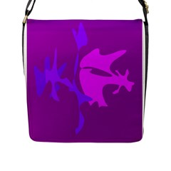 Purple, Pink And Magenta Amoeba Abstraction Flap Messenger Bag (l)  by Valentinaart
