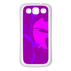Purple, Pink And Magenta Amoeba Abstraction Samsung Galaxy S3 Back Case (white) by Valentinaart