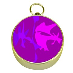 Purple, Pink And Magenta Amoeba Abstraction Gold Compasses by Valentinaart