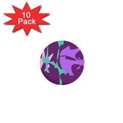 Purple Amoeba Abstraction 1  Mini Buttons (10 Pack)  by Valentinaart