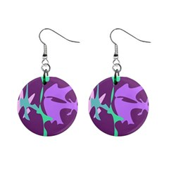 Purple Amoeba Abstraction Mini Button Earrings by Valentinaart