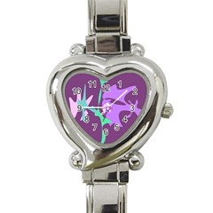 Purple Amoeba Abstraction Heart Italian Charm Watch by Valentinaart