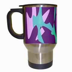 Purple Amoeba Abstraction Travel Mugs (white) by Valentinaart