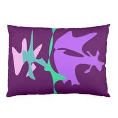 Purple Amoeba Abstraction Pillow Case (two Sides) by Valentinaart