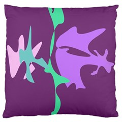 Purple Amoeba Abstraction Large Cushion Case (two Sides) by Valentinaart