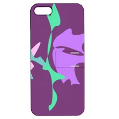 Purple Amoeba Abstraction Apple Iphone 5 Hardshell Case With Stand by Valentinaart