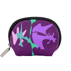 Purple Amoeba Abstraction Accessory Pouches (small)  by Valentinaart