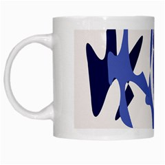 Blue Amoeba Abstract White Mugs by Valentinaart