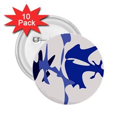 Blue Amoeba Abstract 2 25  Buttons (10 Pack)  by Valentinaart