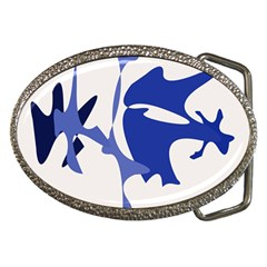 Blue Amoeba Abstract Belt Buckles by Valentinaart