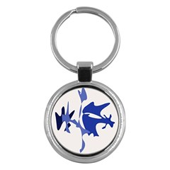 Blue Amoeba Abstract Key Chains (round)  by Valentinaart