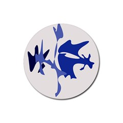 Blue Amoeba Abstract Rubber Coaster (round)  by Valentinaart