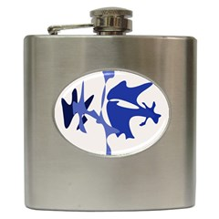 Blue Amoeba Abstract Hip Flask (6 Oz) by Valentinaart