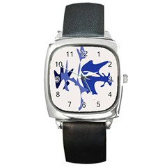 Blue Amoeba Abstract Square Metal Watch by Valentinaart