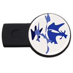 Blue Amoeba Abstract Usb Flash Drive Round (4 Gb)  by Valentinaart