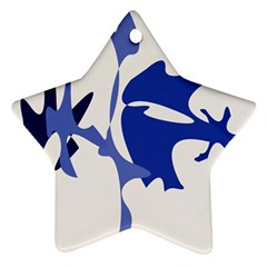 Blue Amoeba Abstract Star Ornament (two Sides)  by Valentinaart