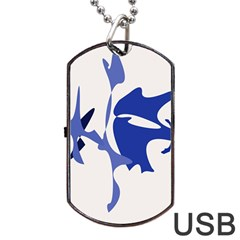 Blue Amoeba Abstract Dog Tag Usb Flash (one Side) by Valentinaart