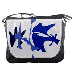 Blue Amoeba Abstract Messenger Bags by Valentinaart