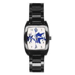 Blue Amoeba Abstract Stainless Steel Barrel Watch by Valentinaart