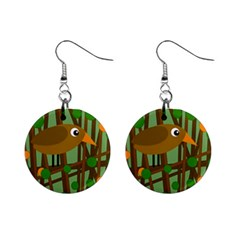 Brown Bird Mini Button Earrings by Valentinaart