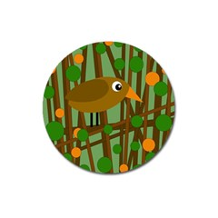 Brown Bird Magnet 3  (round) by Valentinaart
