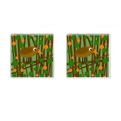 Brown Bird Cufflinks (square) by Valentinaart