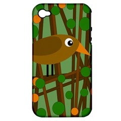Brown Bird Apple Iphone 4/4s Hardshell Case (pc+silicone) by Valentinaart