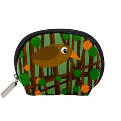 Brown Bird Accessory Pouches (small)  by Valentinaart