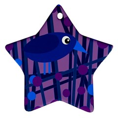 Purple Bird Star Ornament (two Sides)  by Valentinaart