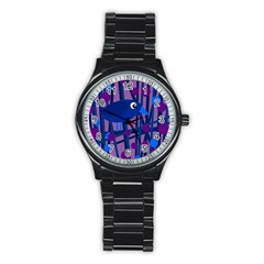 Purple Bird Stainless Steel Round Watch by Valentinaart