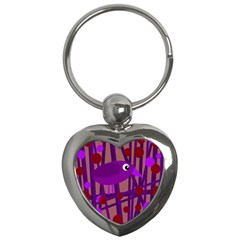 Sweet Purple Bird Key Chains (heart)  by Valentinaart