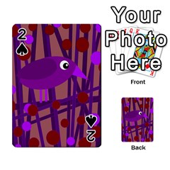 Sweet Purple Bird Playing Cards 54 Designs  by Valentinaart