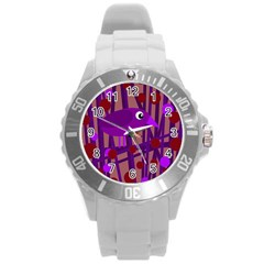 Sweet Purple Bird Round Plastic Sport Watch (l) by Valentinaart