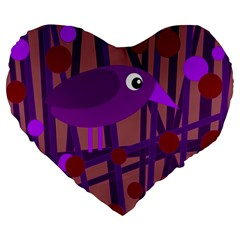 Sweet Purple Bird Large 19  Premium Heart Shape Cushions by Valentinaart