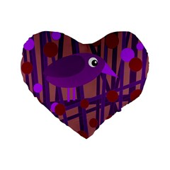 Sweet Purple Bird Standard 16  Premium Flano Heart Shape Cushions by Valentinaart