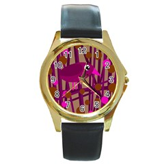 Cute Magenta Bird Round Gold Metal Watch by Valentinaart