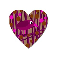Cute Magenta Bird Heart Magnet by Valentinaart