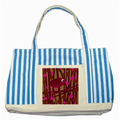 Cute Magenta Bird Striped Blue Tote Bag by Valentinaart