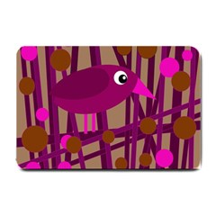 Cute Magenta Bird Small Doormat  by Valentinaart