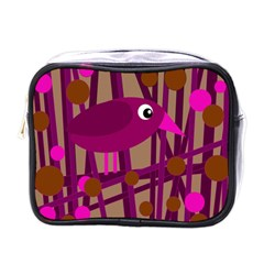 Cute Magenta Bird Mini Toiletries Bags by Valentinaart