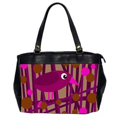 Cute Magenta Bird Office Handbags (2 Sides)  by Valentinaart