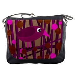 Cute Magenta Bird Messenger Bags by Valentinaart
