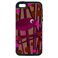 Cute Magenta Bird Apple Iphone 5 Hardshell Case (pc+silicone) by Valentinaart