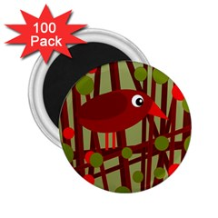 Red Cute Bird 2 25  Magnets (100 Pack)  by Valentinaart