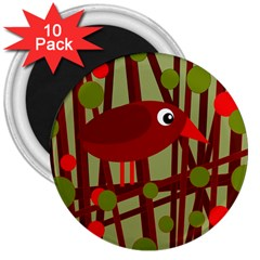 Red Cute Bird 3  Magnets (10 Pack)  by Valentinaart
